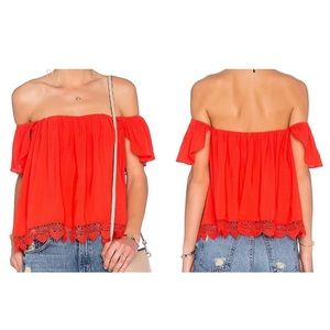 Lovers + Friends off the shoulder red top